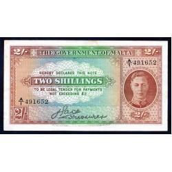 Мальта 2 шиллинга ND (1942 г.) (MALTA 2 Shillings ND (1942)) P17a:VF+