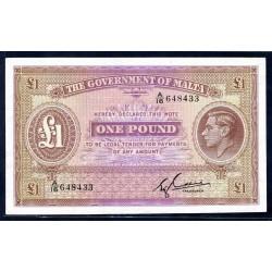 Мальта 1 фунт ND (1940 г.) (MALTA 1 Pound ND (1940)) P20с:Unc