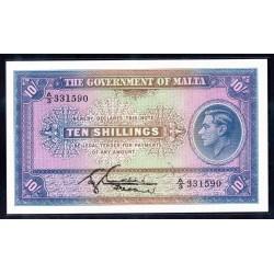 Мальта 10 шиллингов ND (1940 г.) (MALTA 10 Shillings ND (1940)) P19:Unc