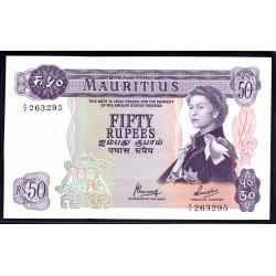 Маврикий 50 рупий ND (1967 г.) (MAURITIUS 50 Rupees ND (1967)) P33с:Unc