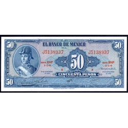 Мексика 50 песо 1969 г. (MEXICO 50 Pesos 1969) P49r:Unc