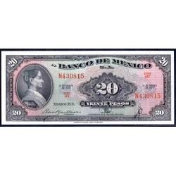 Мексика 20 песо 1959 г. (MEXICO 20 Pesos 1959) P54g:Unc