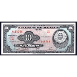 Мексика 10 песо 1963 г. (MEXICO 10 Pesos 1963) P58j:Unc