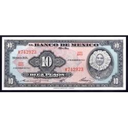 Мексика 10 песо 1965 г. (MEXICO 10 Pesos 1965) P58к:Unc