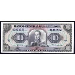 Эквадор 100 сукре 1966 г. (ECUADOR 100 sucres 1966 g.) P105:Unc