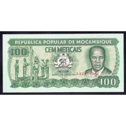 Мозамбик 100 метикалей 1989 г.  (MOZAMBIQUE 100 Meticais 1989) P130с:Unc