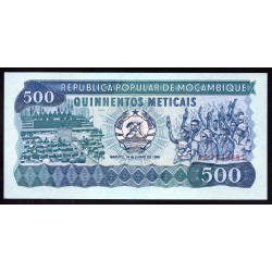 Мозамбик 500 метикалей 1986 г.  (MOZAMBIQUE 500 Meticais 1986) P131b:Unc