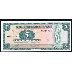 Никарагуа 5 кордоба 1972 г. (NICARAGUA 5 Córdobas 1972) P122:Unc