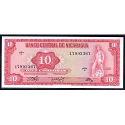 Никарагуа 10 кордоба 1972 г. (NICARAGUA 10 Córdobas 1972) P123:Unc