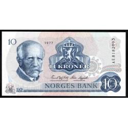 Норвегия 10 крон 1977 год (NORWAY 10 Kroner 1977) P36с:Unc
