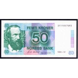 Норвегия 50 крон 1990 год (NORWAY 50 Kroner 1990) P42е:Unc