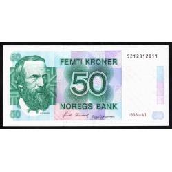 Норвегия 50 крон 1993 год (NORWAY 50 Kroner 1993) P42е:Unc