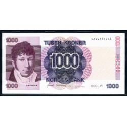 Норвегия 1000 крон 1990 год (NORWAY 1000 Kroner 1990) P45а:Unc