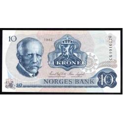 Норвегия 10 крон 1982 год (NORWAY 10 Kroner 1982) P36с:Unc