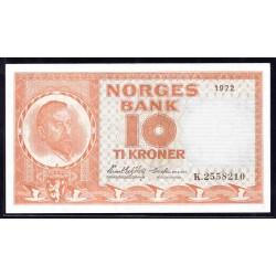 Норвегия 10 крон 1972 год (NORWAY 10 Kroner 1972) P31x:Unc