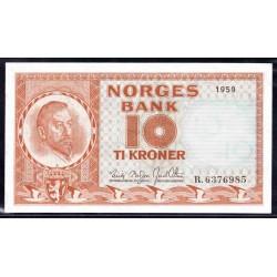 Норвегия 10 крон 1959 год (NORWAY 10 Kroner 1959) P31c:Unc