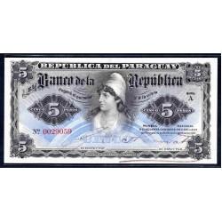 Парагвай 5 песо 1907 г. (PARAGUAY 5 Pesos 1907) P156:Unc