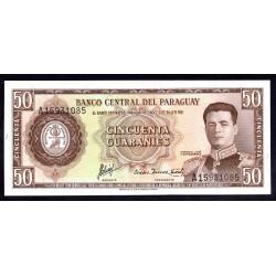 Парагвай 50 гуарани L. 25.03.1952 (1963 г.) (PARAGUAY  50 Guaraníes L. 25.03.1952 (1963)) P197b:Unc