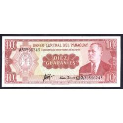 Парагвай 10 гуарани L. 25.03.1952 (1963 г.) (PARAGUAY  10 Guaraníes L. 25.03.1952 (1963)) P196b:Unc