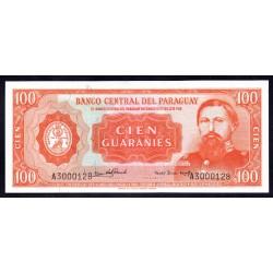 Парагвай 100 гуарани L. 25.03.1952 (1963 г.) (PARAGUAY 100 Guaraníes L. 25.03.1952 (1963)) P199а:Unc