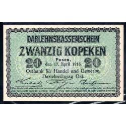 Польша 20 копеек 1916 г. (оккупация) (POLAND 20 kopeken 1916) P-R120:Unc - OST