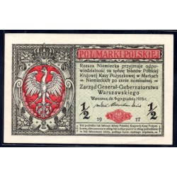 Польша 1/2 марки 1917 г. (POLAND ½ Marki Polskiej 1917) P7:Unc