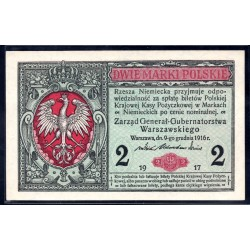 Польша 2 марки 1917 г. (POLAND 2 Marki Polskie 1917) P9:XF