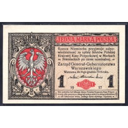 Польша 1 марка 1917 г. (POLAND 1 Marka Polska 1917) P8:Unc