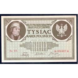 Польша 1000 марок 1919 г. (POLAND 1000 Marek Polskich 1919) Р22:Unc