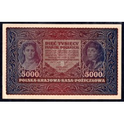 Польша 5000 марок 1920 г. (POLAND 5000 Marek Polskich 1920) Р31:аUnc