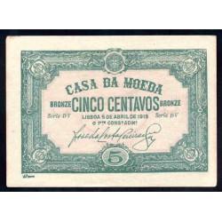 Португалия 5 центаво 1918 г. (PORTUGAL 5 Centavos Bronze 1918) P97:Unc-