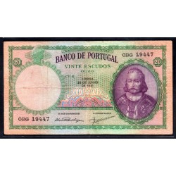 Португалия 20 эскудо 1951 г. (PORTUGAL 20 Escudos 1951) P153a:VF+