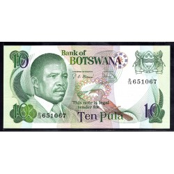 Ботсвана 10 пула ND (1982 год) (Botswana 10 pula ND(1982g.)) P9b:Unc
