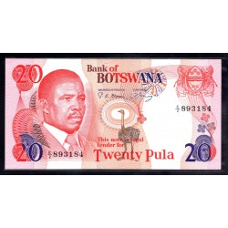 Ботсвана 20 пула ND (1982 год) (Botswana 20 pula ND(1982g.)) P10a:Unc