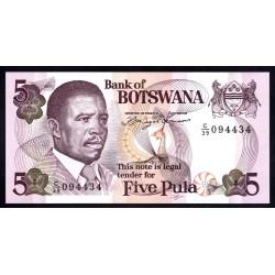 Ботсвана 5 пула ND (1982 год) (Botswana 5 pula ND(1982g.)) P11а:Unc