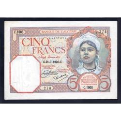 Алжир 5 франков 1926 год (Algeria 5 francs 1926g.) P77:aUNC