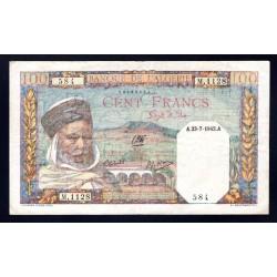 Алжир 100 франков 1942 год (Algeria 100 francs 1942g.) P85:XF