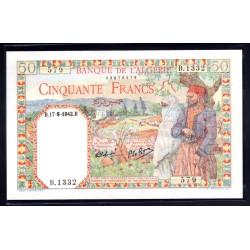 Алжир 50 франков 1942 год (Algeria 50 francs 1942g.) P87:Unc