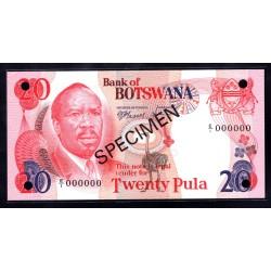 Ботсвана 20 пула ND (1979 год) Образец (Botswana 20 pula ND(1979g.)) P5s:Unc SPECIMEN
