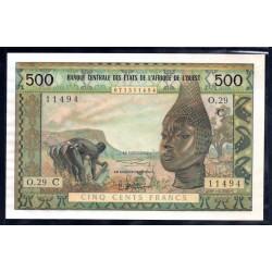 Западные Африканские Штаты (Буркина Фасо) 500 франков ND (1961 - 65 г.г) (Western African States (Burkina Faso) 500 francs ND (1961 - 65g.)) P302c:Unc