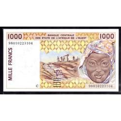Западные Африканские Штаты (Буркина Фасо) 1000 франков ND (1991 - 2002 г. г.) (Western African States (Burkina Faso) 1000 francs ND (1991 - 2002g.)) P311ci:Unc