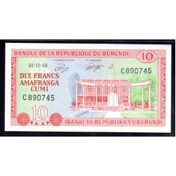 Бурунди 10 франков 1968 год (Burundi 10 francs 1968g.) P20a:Unc