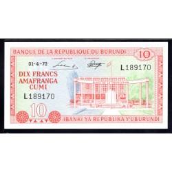 Бурунди 10 франков 1970 год (Burundi 10 francs 1970g.) P20b:Unc