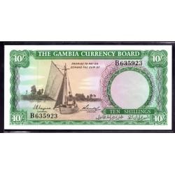 Гамбия 10 шиллингов ND (1965 - 70 г.г.) (Gambia 10 shillings ND (1965 -70g.)) P1:Unc