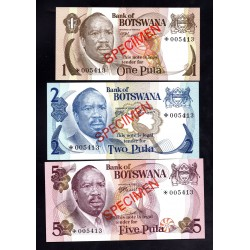 Ботсвана набор из 5-ти банкнот 1979 год (Образцы) (Botswana nabor 5 banknot 1979g.) SPECIMEN PCSI:Unc