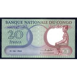 Конго 20 франков 1962 год (CONGO 20 francs 1962 g.) P4:Unc