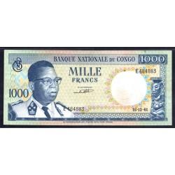 Конго 1000 франков 1961 год (CONGO  1000 francs 1961g.) P8a:aUnc