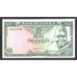 Замбия 2 квача ND (1974 год) (ZAMBIA 2 kwacha ND (1974 g.)) P20:Unc