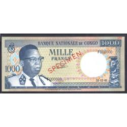 Конго 1000 франков 1961 год (CONGO  1000 francs 1961g.) P8s:Unc SPECIMEN