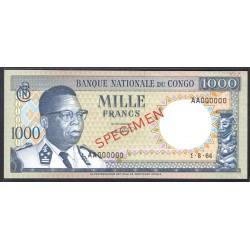 Конго 1000 франков 1964 год (CONGO  1000 francs 1964g.) P8s:Unc SPECIMEN